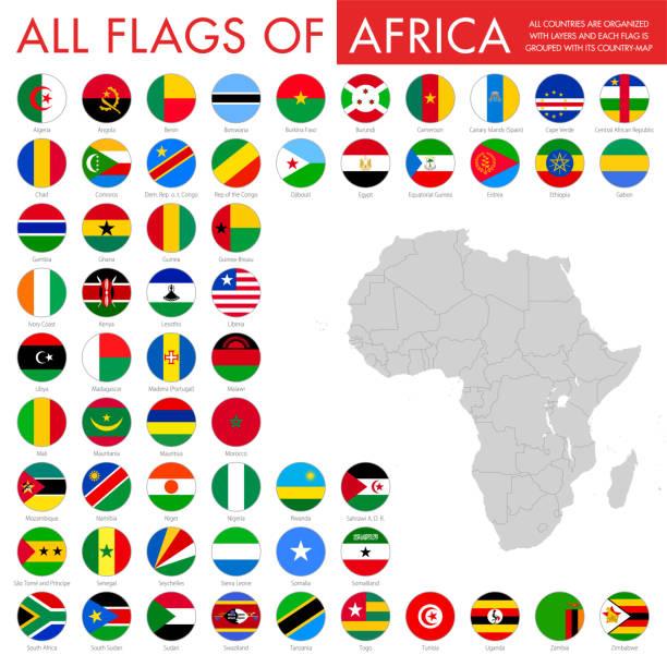 非洲-圓角旗子向量例證 - 阿爾及利亞 幅插畫檔、美工圖案、卡通及圖標