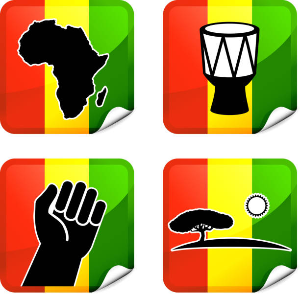 africa royalty free vector icon set stickers - black power stock illustrations