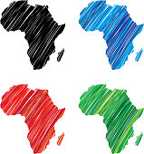 Vector illustration of hand drawn black, blue, red and green Africa icons.