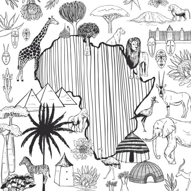 Africa set. Vector sketch illustration. Continent, attractions, flora and fauna of Africa. Vector sketch illustration. south africa stock illustrations