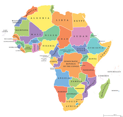 Africa single states political map