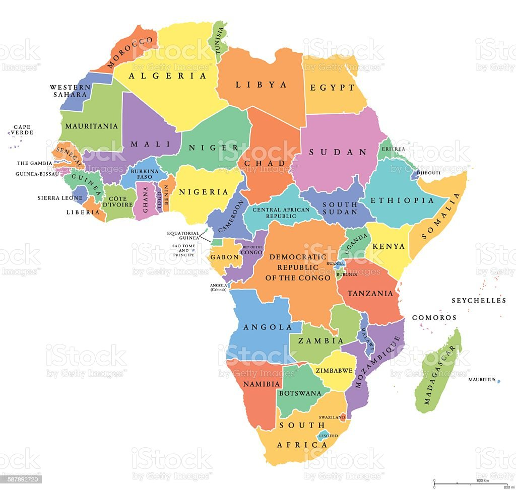 Africa single states political map vector art illustration
