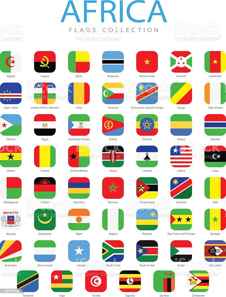 Africa - Square Flag Icons - Illustration vector art illustration