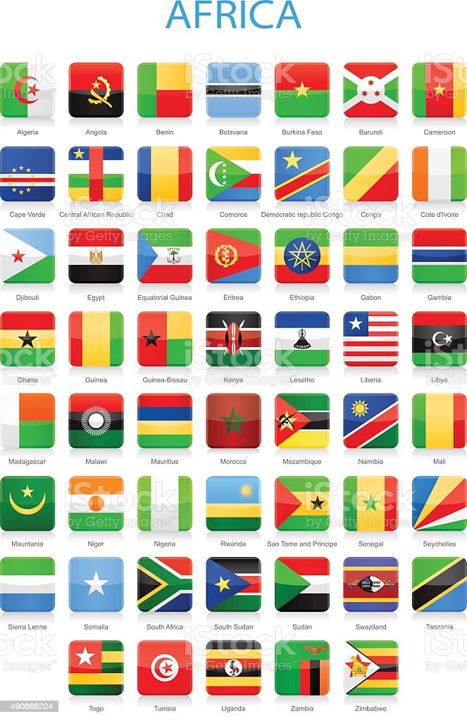 Africa - Square Flags - Illustration vector art illustration