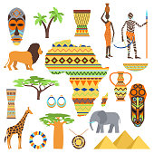 African symbols and travel safari icon, travel element set. Poster African symbols design african ethnic set. Travel art south icon Africa symbols and ancient animal travel vector design.