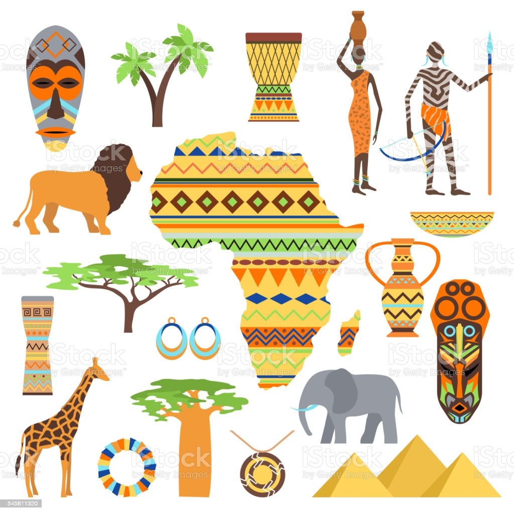 Africa symbols and travel vector set. vector art illustration