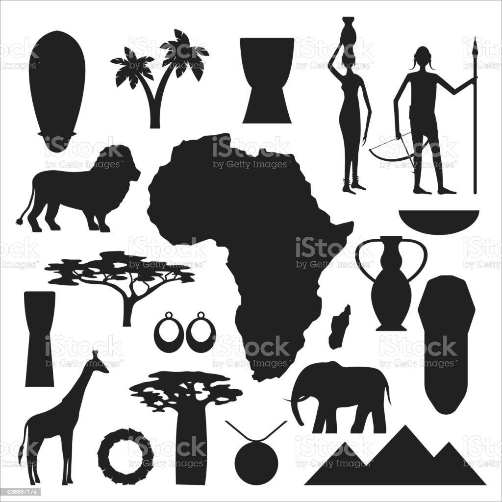 Africa simboli e set vettoriale di viaggio. - illustrazione arte vettoriale