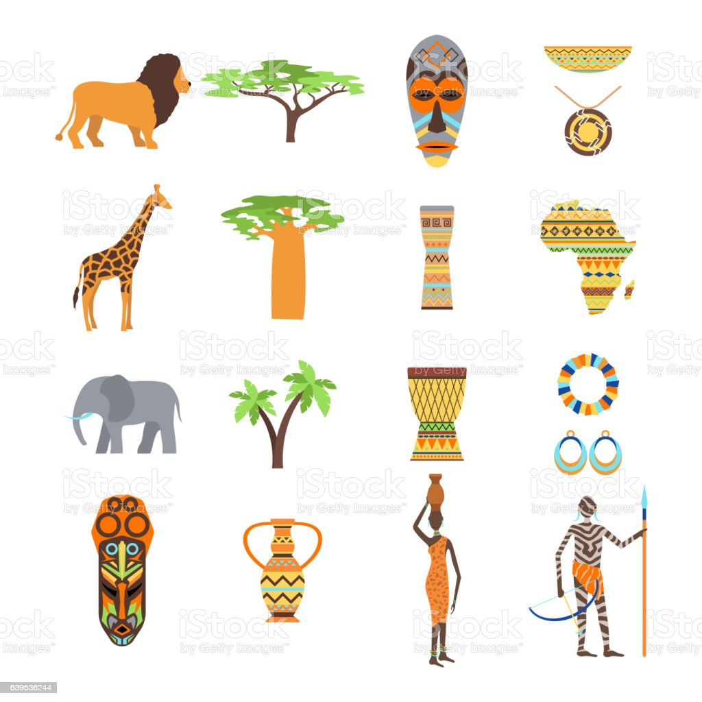 Africa symbols and travel vector set. vector art illustration