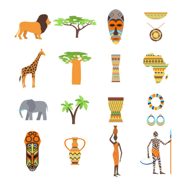 África vector conjunto de símbolos y viajes. - ilustración de arte vectorial