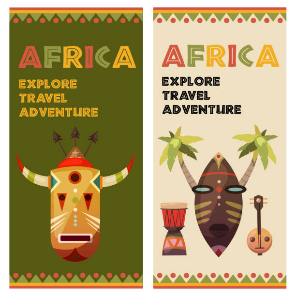 africa. travel to exotic continent. banners with vector icons - instrument perkusyjny stock illustrations