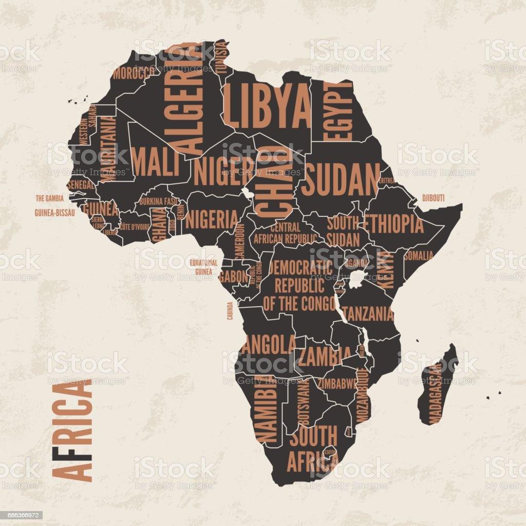 Mapa detalhado vintage de África imprimir cartaz projeto. Ilustração em vetor. - ilustração de arte em vetor