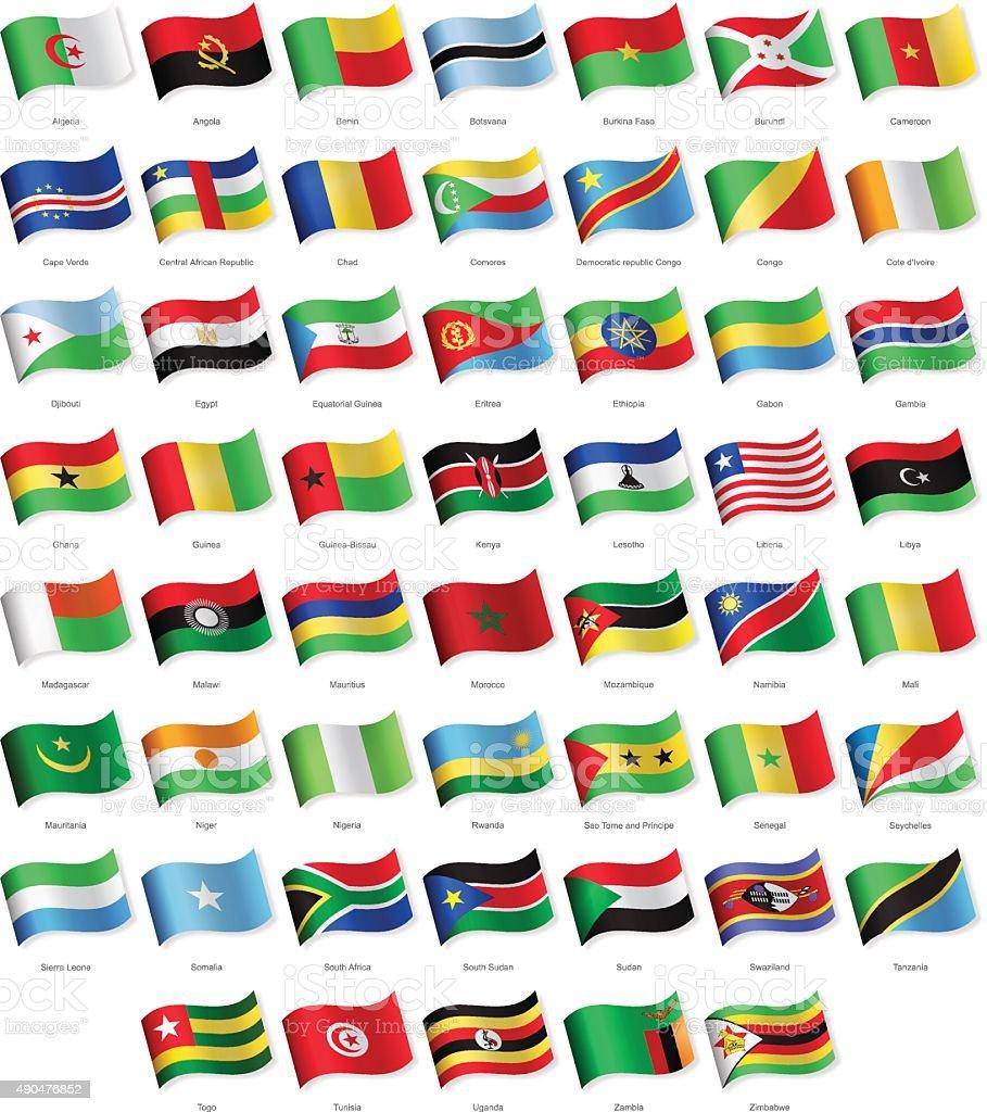 Afrika-Waving Flags-Illustration – Vektorgrafik