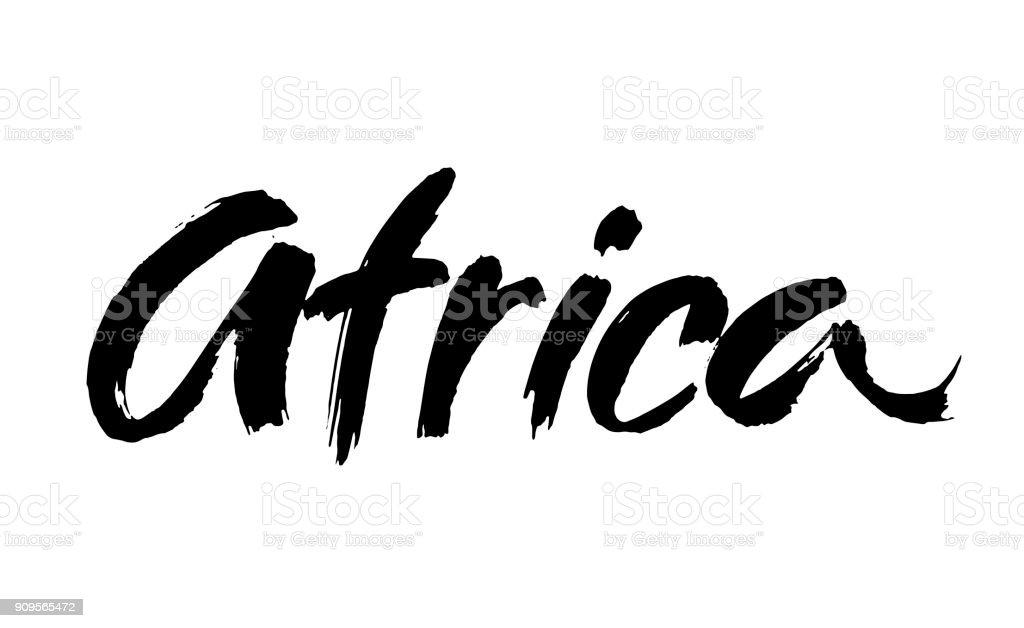 Afrika-Wort hand gezeichnete Schrift auf weißem Hintergrund. Moderne Bürste Kalligraphie. Vektor – Vektorgrafik