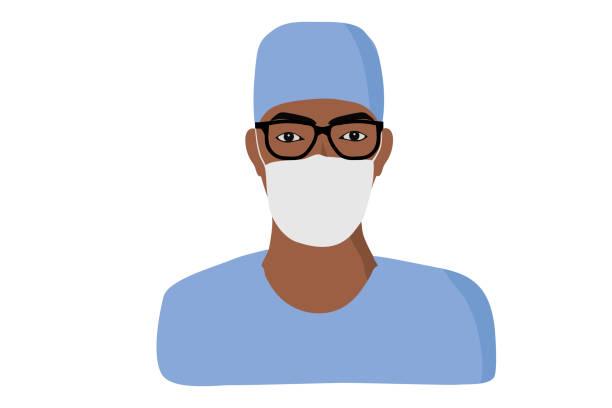illustrations, cliparts, dessins animés et icônes de infirmière africaine, afro-américaine d'homme d'homme, docteur. - infirmier