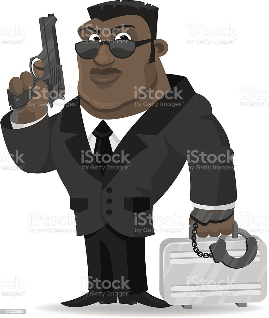 African agent keeps gun and suitcase vector art illustration