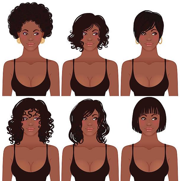 african american-avatare: schwarze frisur trends für damen - langhaar stock-grafiken, -clipart, -cartoons und -symbole