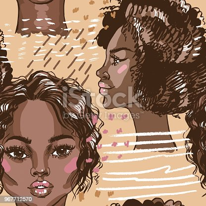 African american beautiful women seamless pattern. Hand drawn vector fashion illustration. Texture with a young girl.