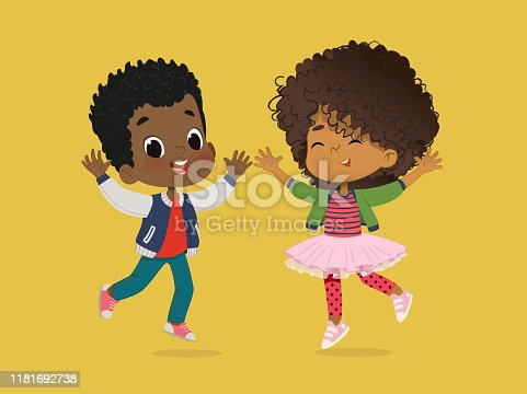 istock African American Boy and girl are playing together happily. Kids Play at the grass. The concept is fun and vibrant moments of childhood. Vector illustrations. 1181692738
