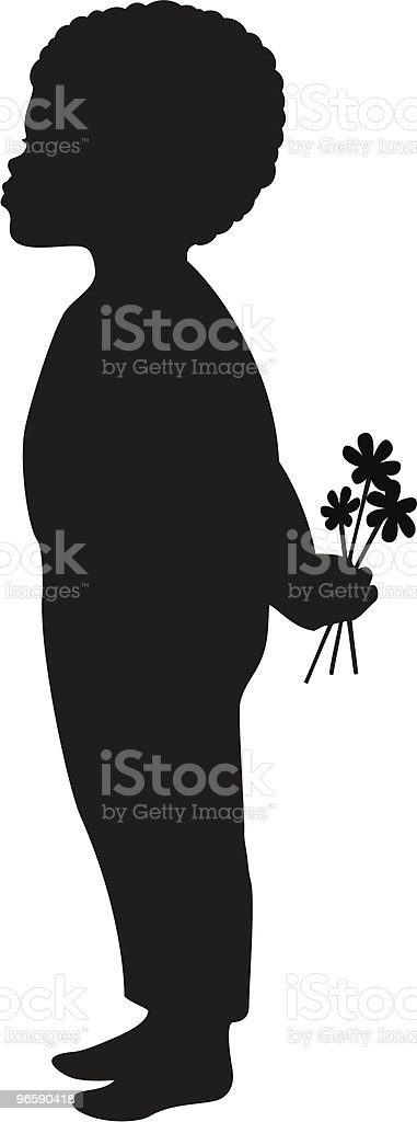 African American Boy with flowers vector art illustration
