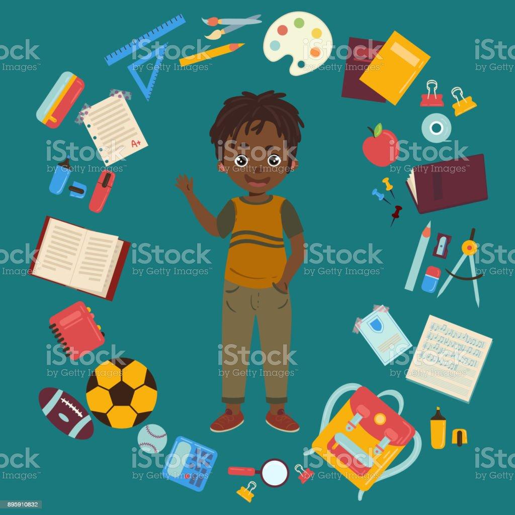 African american boy with school supplies vector art illustration