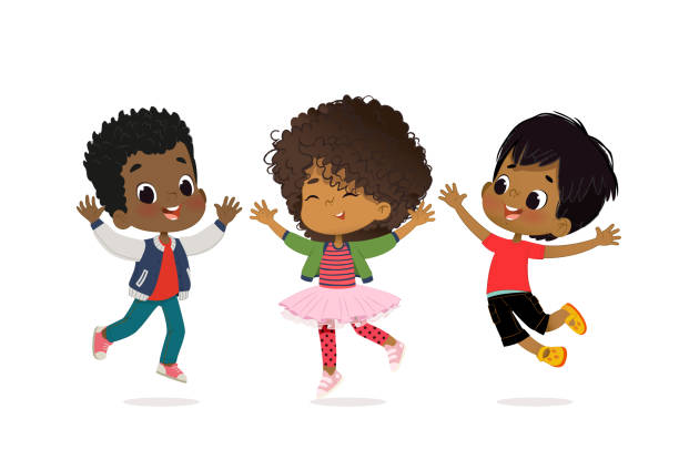 african american boys and girls are playing together happily. kids play at the grass. children holding hands and jumping. the concept is fun and vibrant moments of childhood. vector illustrations. - chłopcy stock illustrations