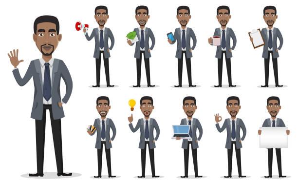 ilustraciones, imágenes clip art, dibujos animados e iconos de stock de personaje de dibujos animados de hombre de negocios afroamericano - africano americano
