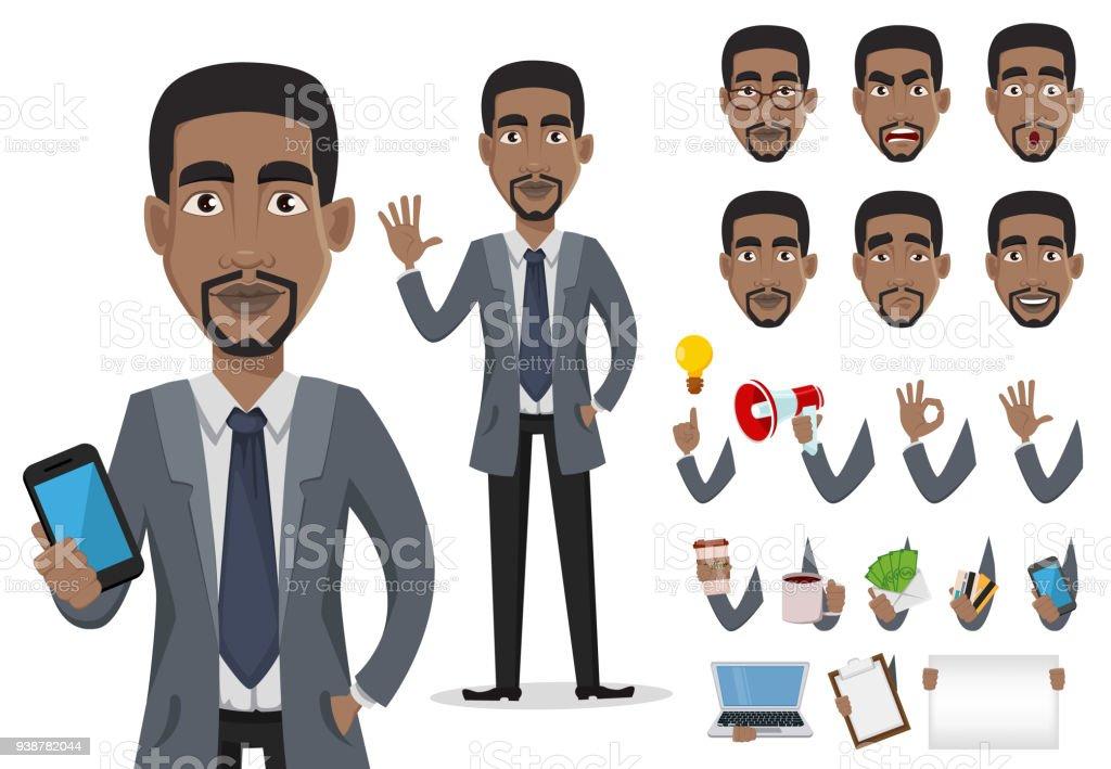 African American business man vector art illustration