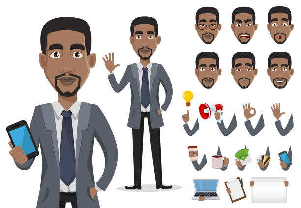 African American business man African American business man cartoon character creation set, pack of body parts and emotions. Smiling businessman in office clothes. Vector illustration. african american ethnicity stock illustrations
