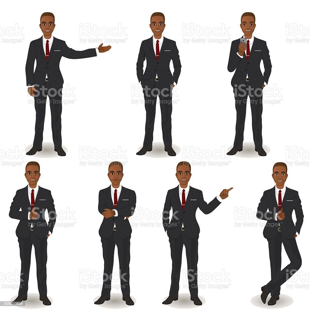 African American Business Men vector art illustration