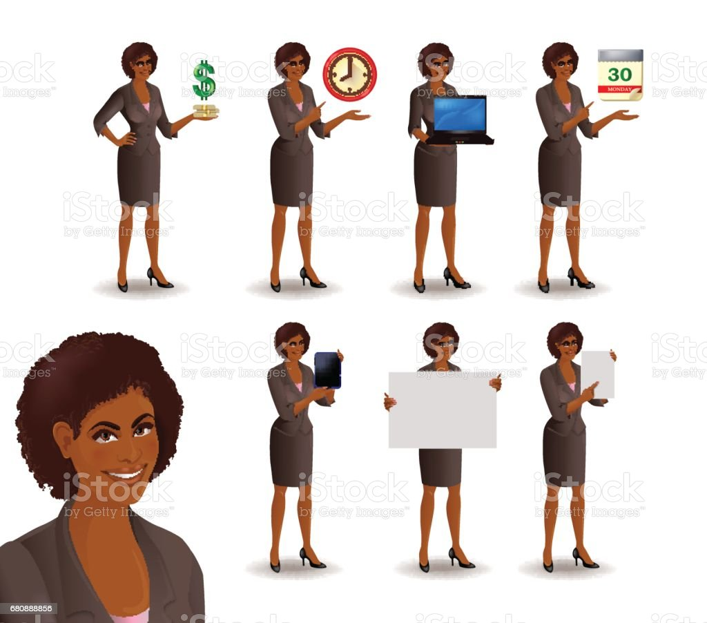 African American business woman set 2 vector art illustration