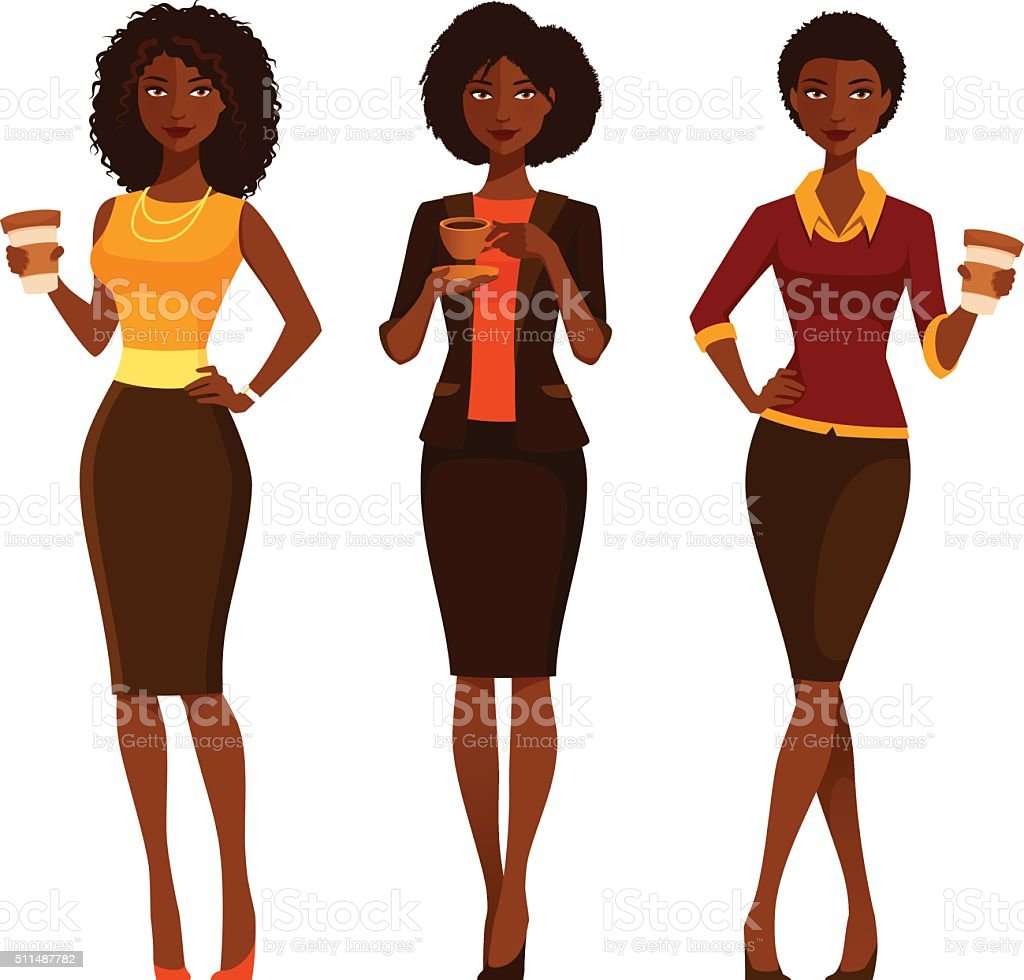 African American business women with coffee vector art illustration