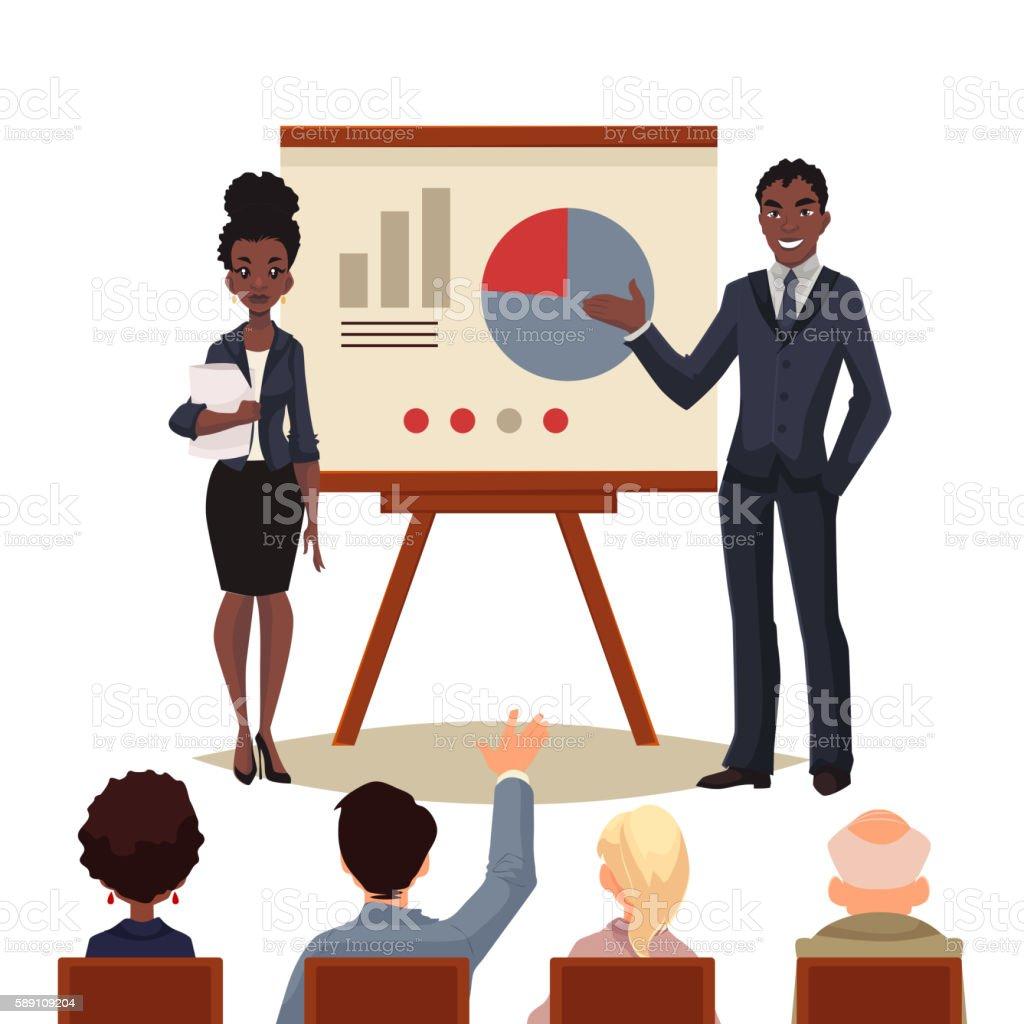 African American businessman and businesswoman holding presentation vector art illustration