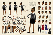 African american businesswoman constructor,human template avatars or characters,flat vector illustration.
