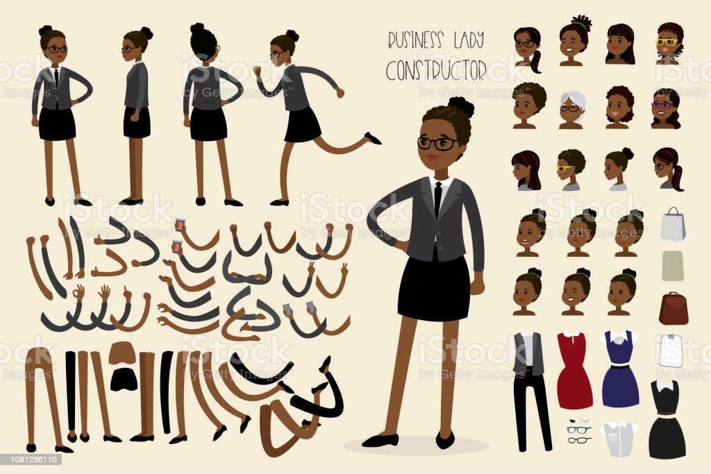 African american businesswoman constructor vector art illustration