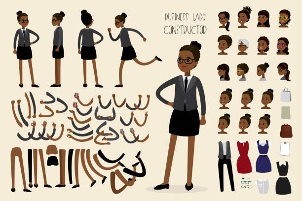 ilustraciones, imágenes clip art, dibujos animados e iconos de stock de constructor de empresaria afroamericana - black people