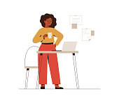 African American businesswoman works from office or home. A confident black female entrepreneur holds coffee and uses a laptop for planning or online meeting. Vector illustration isolated on white.
