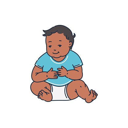 African american child baby character sketch vector illustration isolated.