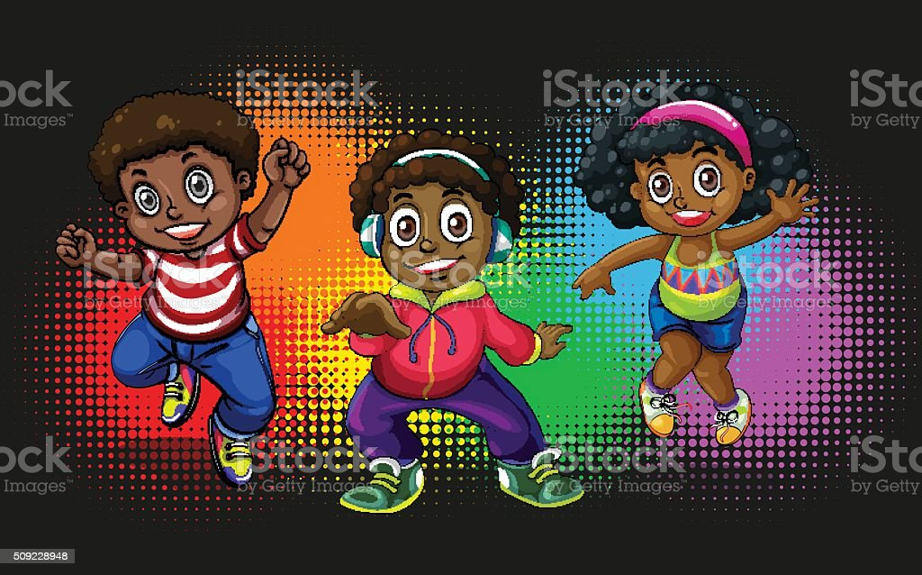 African american children dancing vector art illustration