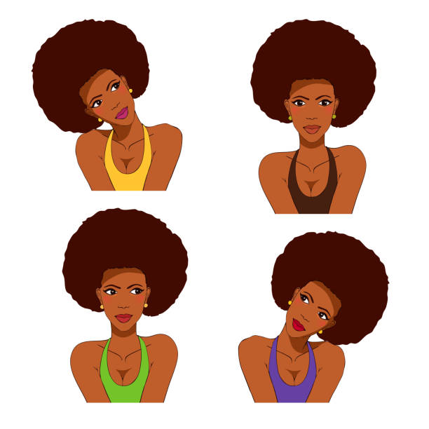 African American comics cartoon girl. Vector illustration set isolated on white. The young beautiful woman tilted her head to her shoulder, looking at the side. shy stock illustrations