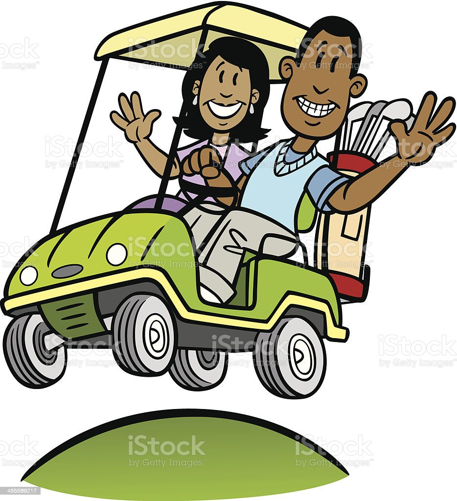 African American Couple in Golf Cart vector art illustration