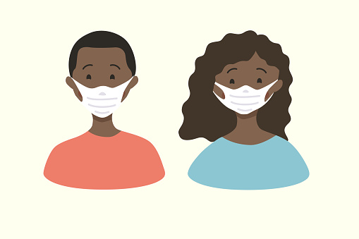 African American couple in medical masks