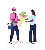 African american courier in face mask gives woman flowers flat color vector detailed characters