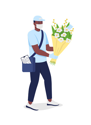 African american delivery man with flowers in face mask flat color vector detailed character