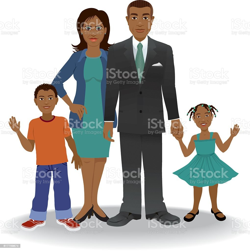 African American Ethnic Family vector art illustration