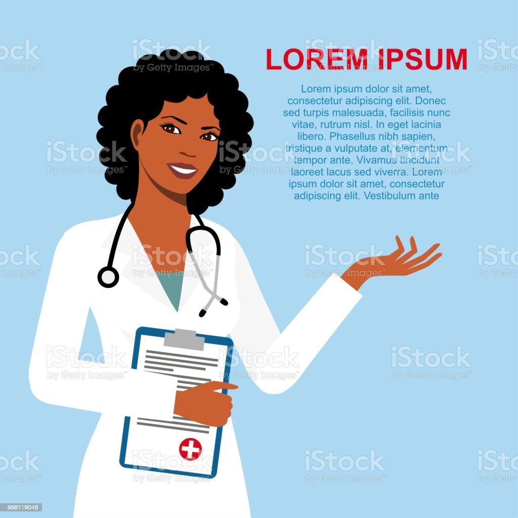 african american ethnic woman doctor vector art illustration