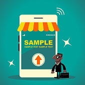 Business Man Characters with Glasses Manga Style Cartoon Vector art illustration.Copy Space, Full Length. African Ethnicity businessman with briefcase standing in front of a mobile phone online shopping store.
