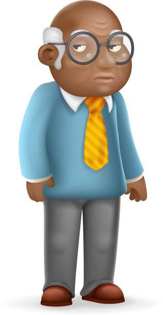 african american european old man adult grandfather 3d cartoon design vector illustration - old man glasses stock illustrations, clip art, cartoons, & icons