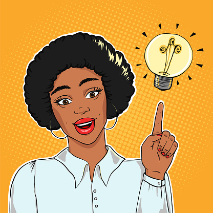 African american excited businesswoman pointing on lightning bulb, idea concept vector illustration in pop art style