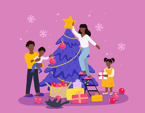 African American Family Decorate Christmas Tree and Preparing for Christmas and New Year