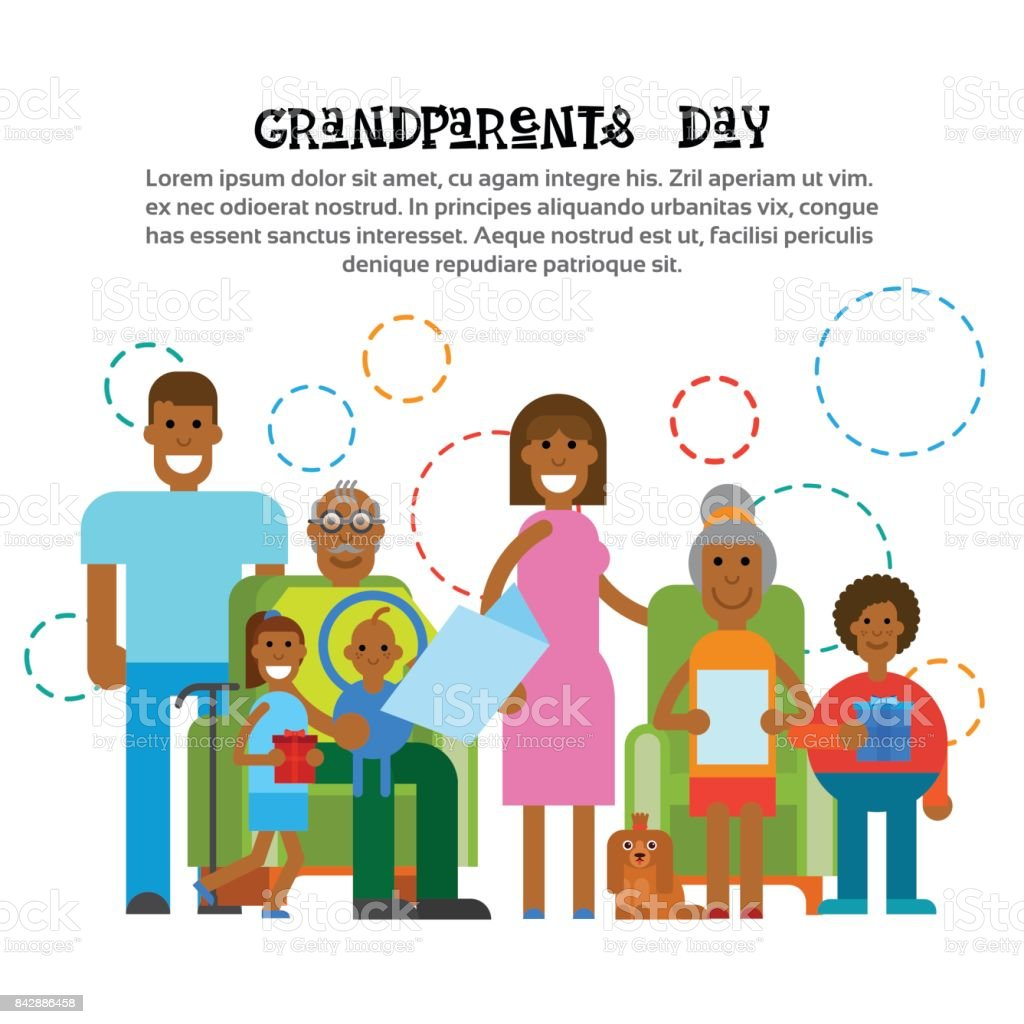 African American Family Together Happy Grandparents Day Greeting